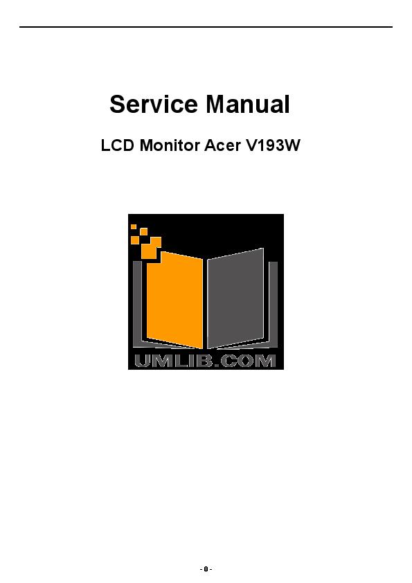 pdf for Acer Monitor V193W manual
